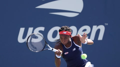 <p>               Coco Gauff, of the United States, returns a shot during a first round doubles match at the US Open tennis championships Friday, Aug. 30, 2019, in New York. (AP Photo/Kevin Hagen)             </p>