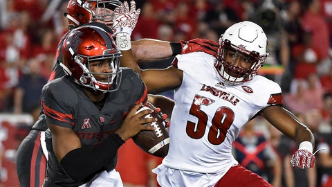 <p>               FILE - In this Nov. 17, 2016, file photo, Houston quarterback Greg Ward Jr., left, scrambles past Louisville linebacker Jonathan Greenard (58) during the second half of an NCAA college football game in Houston. Greenard's 2018 season ended after nine plays, cut short on Louisville's opening defensive series when he dislocated his right wrist and tore several ligaments in a 51-14 loss to Alabama. Greenard opted to leave Louisville after coach Bobby Petrino was fired in November, scrambled to complete his degree and ended up at Florida as a graduate transfer. Now, he's expected to start for the eighth-ranked Gators when they usher in the college football season against rival Miami on Saturday night. (AP Photo/Eric Christian Smith, File)             </p>