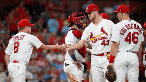 <p>               St. Louis Cardinals starting pitcher Dakota Hudson (43) is removed by manager Mike Shildt (8) during the seventh inning of a baseball game against the Milwaukee Brewers, Monday, Aug. 19, 2019, in St. Louis. (AP Photo/Jeff Roberson)             </p>