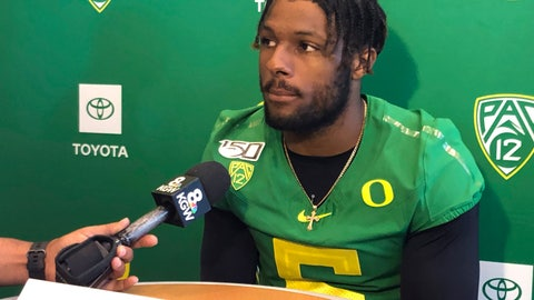 <p>               In this Aug. 2, 2019, photo, Oregon defensive end Kayvon Thibodeaux speaks to reporters at the NCAA college football team's media day in Eugene, Ore. Thibodeaux is a five-star recruit who should see playing time as a true freshman. (AP Photo/Anne M. Peterson)             </p>