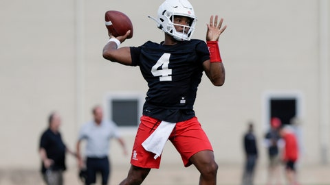 <p>               Houston quarterback D'Eriq King (4) looks to pass during NCAA college football practice in Houston, Texas, Saturday, Aug. 3, 2019. Houston plays at Oklahoma on Sunday, Sept. 1. (Tim Warner/Houston Chronicle via AP)             </p>