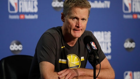 <p>               FILE - In this June 5, 2019, file photo, Golden State Warriors head coach Steve Kerr speaks at a news conference after Game 3 of basketball's NBA Finals against the Toronto Raptors in Oakland, Calif. Kerr knows that a new era of Warriors basketball is about to begin. He just doesn't know what that means yet. (AP Photo/Ben Margot, File)             </p>