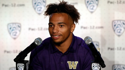 <p>               Washington defensive back Myles Bryant answers questions during the Pac-12 Conference NCAA college football Media Day Wednesday, July 24, 2019, in Los Angeles. (AP Photo/Marcio Jose Sanchez)             </p>