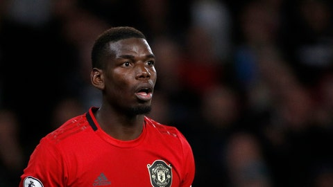 <p>               Manchester United's Paul Pogba reacts during the English Premier League soccer match between Wolverhampton Wanderers and Manchester United at the Molineux Stadium in Wolverhampton, England, Monday, Aug. 19, 2019. (AP Photo/Rui Vieira)             </p>