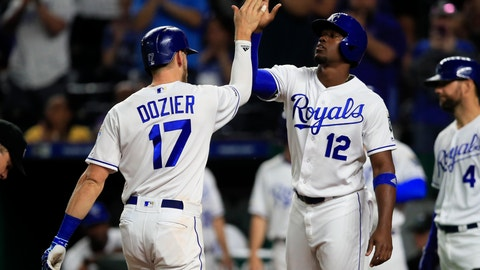 <p>               Kansas City Royals' Hunter Dozier (17) is congratulated by Jorge Soler (12) after his two-run home run during the third inning of the team's baseball game against the Oakland Athletics at Kauffman Stadium in Kansas City, Mo., Wednesday, Aug. 28, 2019. (AP Photo/Orlin Wagner)             </p>
