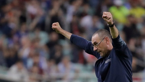 <p>               FILE - In this file photo taken on May 29, 2019, then Chelsea head coach Maurizio Sarri celebrates after winning the Europa League Final soccer match against Arsenal at the Olympic stadium in Baku, Azerbaijan. There will be some familiar new faces when the Italian league starts back up this weekend _ albeit in unfamiliar roles. Maurizio Sarri and Antonio Conte have returned to coach in Serie A in a shakeup of the top managerial roles rarely seen. (AP Photo/Luca Bruno)             </p>