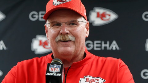 <p>               Kansas City Chiefs coach Andy Reid speaks at a news conference after the team's preseason NFL football game against the Pittsburgh Steelers, Saturday, Aug. 17, 2019, in Pittsburgh. The Steelers won 17-7. (AP Photo/Don Wright)             </p>