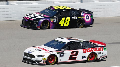 <p>               Brad Keselowski (2) and Jimmie Johnson (48) practice for a NASCAR Cup Series auto race at Michigan International Speedway in Brooklyn, Mich., Saturday, Aug. 10, 2019. (AP Photo/Paul Sancya)             </p>