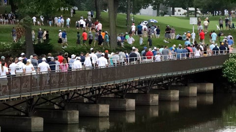 """<p>               Fans shelter from the rain as they walk round the course during the third round of the BMW Championship golf tournament at Medinah Country Club, Saturday, Aug. 17, 2019, in Medinah, Ill. The National Weather Service is warning of widespread severe weather Monday, beginning with scattered showers throughout the day and culminating tonight with the possibility of winds of up to 70 mph, quarter-sized hail, flooding and """"a tornado or two possible."""" (AP Photo/Nam Y. Huh)             </p>"""