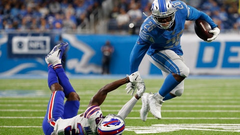 <p>               Detroit Lions running back C.J. Anderson (26) breaks the tackle of Buffalo Bills defensive back Levi Wallace (39) during the first half of an NFL preseason football game in Detroit, Friday, Aug. 23, 2019. (AP Photo/Rick Osentoski)             </p>