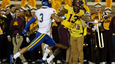 <p>               Minnesota linebacker James Gordon Iv (13) catches the ball against South Dakota State safety Joshua Manchigiah (3) during an NCAA college football game Thursday, Aug. 29, 2019, in Minneapolis. (AP Photo/Stacy Bengs)             </p>