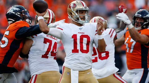 <p>               San Francisco 49ers quarterback Jimmy Garoppolo (10) throws against the Denver Broncos during an NFL preseason football game, Monday, Aug. 19, 2019, in Denver. (AP Photo/David Zalubowski)             </p>