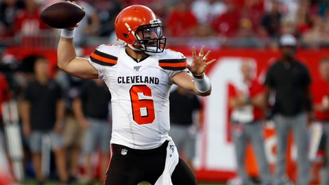 <p>               Cleveland Browns quarterback Baker Mayfield (6) throws a pass during the first half of an NFL preseason football game against the Tampa Bay Buccaneers Friday, Aug. 23, 2019, in Tampa, Fla. (AP Photo/Mark LoMoglio)             </p>