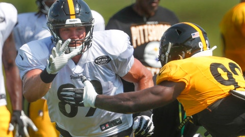 <p>               FILE - This Aug. 1, 2019, file photo shows Pittsburgh Steelers tight end Vance McDonald (89) as he battles linebacker Ola Adeniyi (92) during practice at their NFL football training camp in Latrobe, Pa. McDonald noticed a positive change in the organization from last season. McDonald has also noticed a difference in quarterback Ben Roethlisberger and the chemistry surrounding the team as a whole. Both changes have him excited for the upcoming season. (AP Photo/Keith Srakocic, File)             </p>