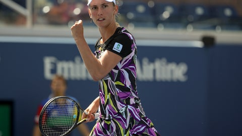 <p>               Elise Mertens, of Belgium, reacts after scoring a point against Andrea Petkovic, of Germany, during round three of the US Open tennis championships Saturday, Aug. 31, 2019, in New York. (AP Photo/Michael Owens)             </p>
