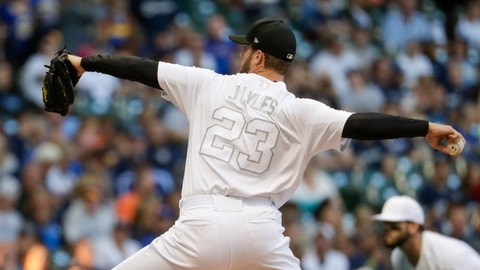 <p>               Milwaukee Brewers starting pitcher Jordan Lyles throws during the first inning of a baseball game against the Arizona Diamondbacks Friday, Aug. 23, 2019, in Milwaukee. (AP Photo/Morry Gash)             </p>