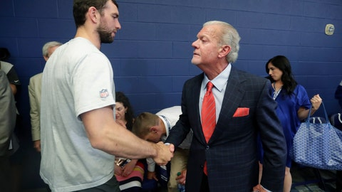 <p>               Indianapolis Colts quarterback Andrew Luck shakes hands with Indianapolis Colts owner Jim Irsay after a news conference following the team's NFL preseason football game against the Chicago Bears, Saturday, Aug. 24, 2019, in Indianapolis. The oft-injured star is retiring at age 29. (AP Photo/Michael Conroy)             </p>
