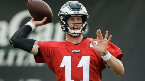 <p>               FILE - In this July 25, 2019, file photo, Philadelphia Eagles quarterback Carson Wentz throws a pass during practice at the NFL football team's training camp in Philadelphia. Wentz, Jason Peters and Darren Sproles have unfinished business. The franchise quarterback, the nine-time Pro Bowl left tackle and the versatile veteran were injured when the Eagles won the first Super Bowl in franchise history following the 2017 season. They are determined to deliver another parade down Broad Street. (AP Photo/Matt Rourke, File)             </p>