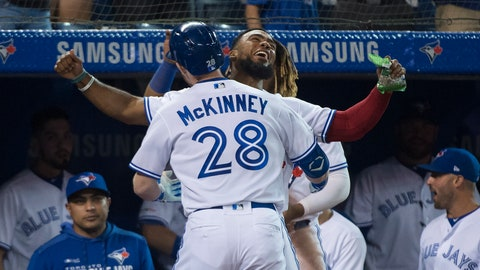 <p>               Toronto Blue Jays right fielder Billy McKinney (28) celebrates his solo home run with Toronto Blue Jays center fielder Teoscar Hernandez, back, while playing against the Texas Rangers during the sixth inning of a baseball game, Tuesday Aug. 13, 2019 in Toronto. (Nathan Denette/The Canadian Press via AP)             </p>