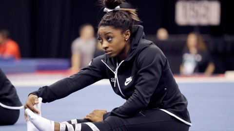 <p>               Simone Biles stretches during practice for the U.S. Gymnastics Championships Wednesday, Aug. 7, 2019, in Kansas City, Mo. (AP Photo/Charlie Riedel)             </p>