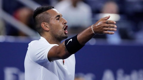 <p>               Nick Kyrgios, of Australia, points out distractions in the crowd during his match against Steve Johnson, of the United States, during the first round of the U.S. Open tennis tournament in New York, early Wednesday, Aug. 28, 2019. (AP Photo/Charles Krupa)             </p>
