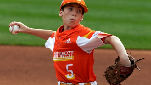 <p>               River Ridge, Louisiana's William Andrade delivers during the first inning of the United State Championship baseball game against Wailuku, Hawaii, at the Little League World Series tournament in South Williamsport, Pa., Saturday, Aug. 24, 2019. (AP Photo/Gene J. Puskar)             </p>