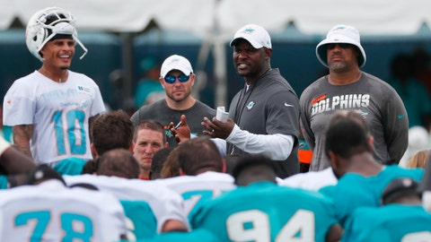 <p>               Miami Dolphins head coach Brian Flores, second from right, talks with players after the teams NFL football training camp, Monday, Aug. 5, 2019 in Davie, Fla. The Dolphins allowed a franchise record 6,257 yards in 2018, and new coach Brian Flores has brought to Miami a scheme that redefines the meanings of positions. (AP Photo/Wilfredo Lee)             </p>