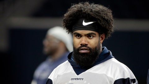 "<p>               FILE - In this May 22, 2019 file photo Dallas Cowboys running back Ezekiel Elliott (21) walks off the field after NFL football practice in Frisco, Texas. Elliott won't face criminal charges in Las Vegas stemming from a scuffle with a security guard at a music festival in May. Clark County District Attorney Steve Wolfson said Tuesday, Aug. 20, 2019, he and police concluded the results of an investigation ""lacked prosecutorial merit."" (AP Photo/Michael Ainsworth, file)             </p>"