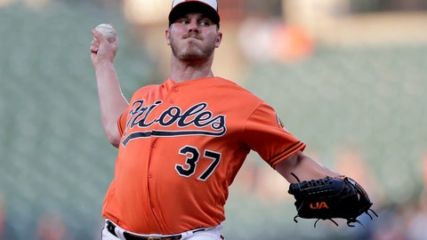 <p>               Baltimore Orioles starting pitcher Dylan Bundy throws a pitch to a Toronto Blue Jays batter during the first inning of a baseball game, Saturday, Aug. 3, 2019, in Baltimore. (AP Photo/Julio Cortez)             </p>