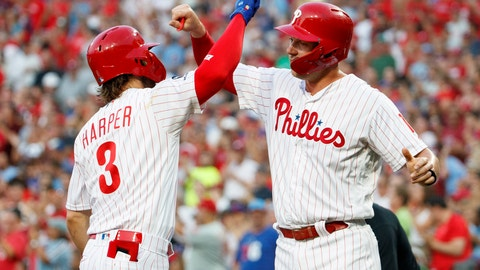 <p>               Philadelphia Phillies' Bryce Harper, left, celebrates his two-run home run with Rhys Hoskins during the first inning of the team's baseball game against the Chicago Cubs, Wednesday, Aug. 14, 2019, in Philadelphia. (AP Photo/Chris Szagola)             </p>