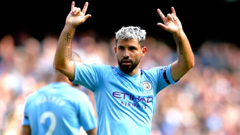 <p>               Manchester City's Sergio Aguero celebrates scoring his side's third goal of the game during the English Premier League soccer match at the Etihad Stadium, Manchester, England, Saturday Aug. 31, 2019. (Nick Potts/PA via AP)             </p>