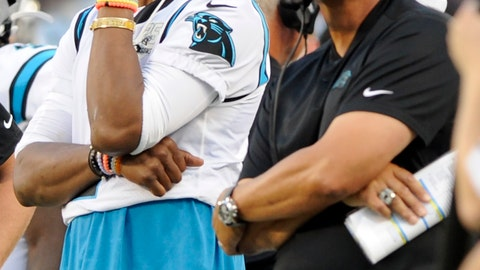 <p>               Carolina Panthers quarterback Cam Newton watches a replay with Carolina Panthers head coach Ron Rivera on the sidelines during the first half an NFL preseason football game against the Buffalo Bills, Friday, Aug. 16, 2019, in Charlotte, N.C. (AP Photo/Mike McCarn)             </p>
