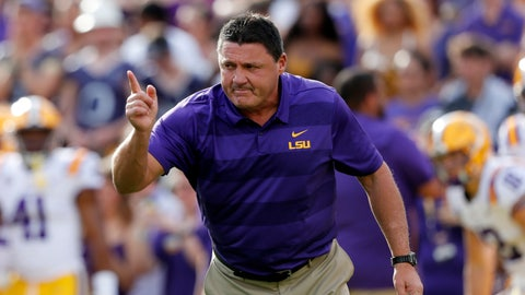 <p>               FILE - In this Sept. 8, 2018, file photo, LSU head coach Ed Orgeron leads his team before an NCAA college football game against Southeastern Louisiana, in Baton Rouge, La. LSU travels to defending Sugar Bowl champion Texas to go along with a brutal SEC schedule that features a trip to Alabama and home games with Florida and Texas A&M. (AP Photo/Gerald Herbert, File)             </p>