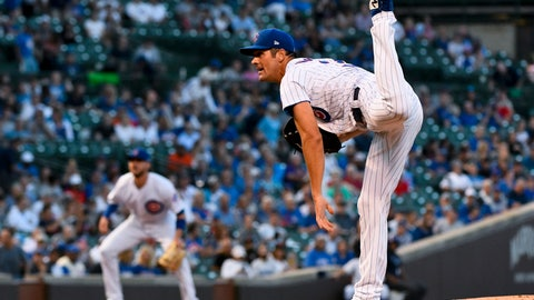 <p>               Chicago Cubs starting pitcher Cole Hamels watches a throw during the first inning of the team's baseball game against the San Francisco Giants on Tuesday, Aug. 20, 2019, in Chicago. (AP Photo/Matt Marton)             </p>