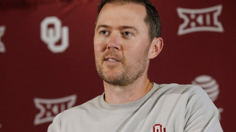 <p>               Oklahoma head coach Lincoln Riley answers a question during an NCAA college football news conference Monday, Aug. 26, 2019 in Norman, Okla. Oklahoma opens the season against Houston. Last time that happened, the Cougars pulled a stunner in 2016 that crippled Oklahoma's chances of reaching the College Football Playoff. The Sooners are well aware and don't want a repeat. (AP Photo/Sue Ogrocki)             </p>