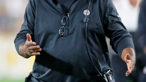 <p>               In this photo from Friday, Aug. 9, 2019, Pittsburgh Steelers wide receivers coach Darryl Drake talks to a receiver during the second half of an NFL preseason football game against the Tampa Bay Buccaneers in Pittsburgh. The team said Drake, who joined the coaching staff in 2018, died early Sunday morning, Aug. 12, 2019. (AP Photo/Keith Srakocic)             </p>