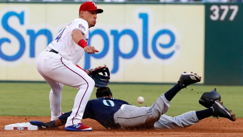 <p>               Texas Rangers' Asdrubal Cabrera reaches for the throw to the bag as Seattle Mariners' Mallex Smith steals second in the third inning of a baseball game in Arlington, Texas, Tuesday, July 30, 2019. (AP Photo/Tony Gutierrez)             </p>