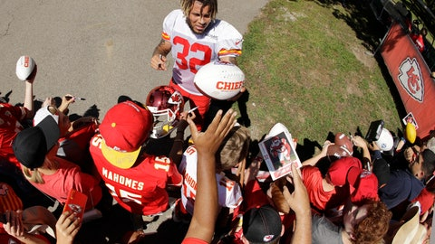 <p>               Kansas City Chiefs free safety Tyrann Mathieu signs autographs after NFL football training camp Monday, July 29, 2019, in St. Joseph, Mo. (AP Photo/Charlie Riedel)             </p>