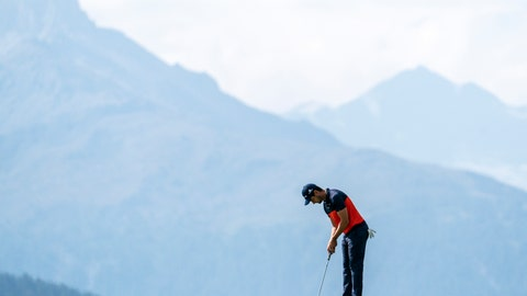 <p>               Benjamin Rusch of Switzerland in action during the first round of the European Masters golf tournament in Crans-Montana, Switzerland, Thursday, August 29, 2019. (Alexandra Wey/Keystone via AP)             </p>