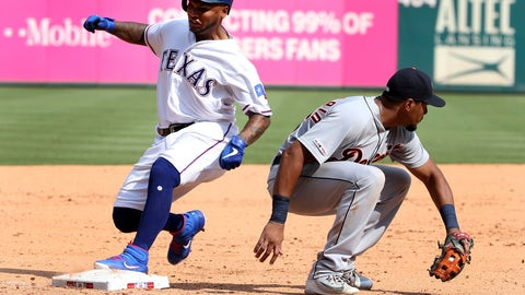 <p>               Texas Rangers Willie Calhoun, left, gets to third in front of Detroit Tigers third baseman Jeimer Candelario, right, for a three-run triple during the seventh inning of a baseball game Sunday, Aug 4, 2019, in Arlington, Texas. (AP Photo/Michael Ainsworth)             </p>