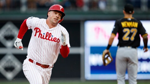 <p>               Philadelphia Phillies' Rhys Hoskins runs to third base after hitting a triple off Pittsburgh Pirates starting pitcher Mitch Keller during the second inning of a baseball game, Wednesday, Aug. 28, 2019, in Philadelphia. (AP Photo/Matt Slocum)             </p>