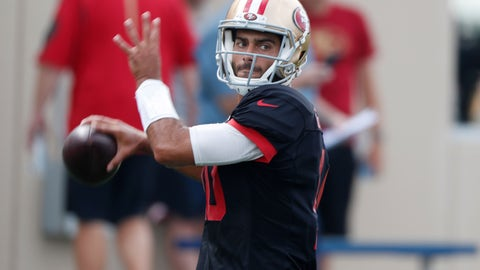 <p>               San Francisco 49ers quarterback Jimmy Garoppolo throws a pass during a combined NFL football training camp with the Denver Broncos at the Broncos' headquarters Friday, Aug. 16, 2019, in Englewood, Colo. (AP Photo/David Zalubowski)             </p>