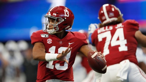 <p>               Alabama quarterback Tua Tagovailoa (13) throws from the pocket during the first half of an NCAA college football game against Duke, Saturday, Aug. 31, 2019, in Atlanta. (AP Photo/John Bazemore)             </p>
