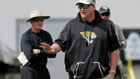 <p>               FILE - In this June 12, 2019, file photo, Jacksonville Jaguars head coach Doug Marrone, front, directs an NFL football practice, Wednesday, June 12, 2019, in Jacksonville, Fla., as Tom Coughlin, left, executive vice president of football operations for the Jaguars, looks on. Coughlin and Marrone are pretty much taking it easy on the Jaguars. It's a complete about-face for two old-school coaches who seem to take pleasure in grinding guys into the ground. (AP Photo/John Raoux, File)             </p>