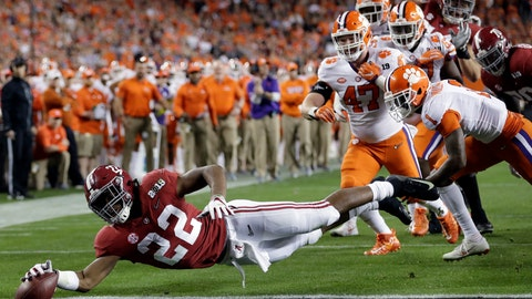<p>               FILE - In this Jan. 7, 2019, file photo, Alabama's Najee Harris reaches for the end zone during the first half the NCAA college football playoff championship game against Clemson, in Santa Clara, Calif. Najee Harris has been a presence in Alabama's backfield pretty much since he arrived as one of the nation's top recruits. Now, he's finally the lead runner. (AP Photo/David J. Phillip, File)             </p>
