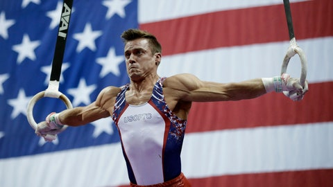<p>               Samuel Mikulak competes on the rings at the U.S. Gymnastics Championships on Saturday, Aug. 10, 2019, in Kansas City, Mo. Mikulak won the men's all-around title. (AP Photo/Charlie Riedel)             </p>