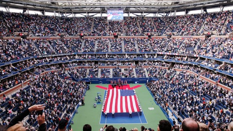 <p>               In this file photo from Sept. 10, 2017, cadets from the West Point military academy present the American flag across the court at Arthur Ashe Stadium before the start of the men's singles final of the U.S. Open tennis tournament in New York. New York City's comptroller says the organizers of the U.S. Open tennis tournament owe the city $311,000 in back rent for use of the tournament site in Queens. (AP Photo/Seth Wenig)             </p>