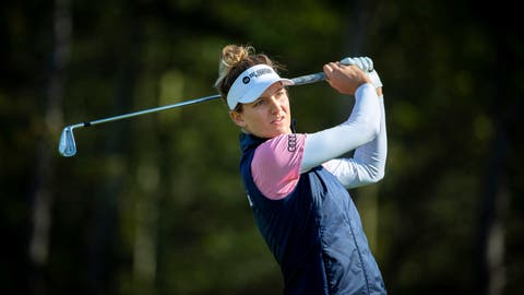 <p>               Holland's Anne Van Dam tees off on the 17th, during day one of the Ladies Scottish Open golf tournament at The Renaissance Club, North Berwick, Scotland, Thursday Aug. 8, 2019. (Kenny Smith/PA via AP)             </p>