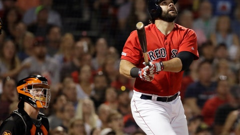 <p>               Boston Red Sox's Mitch Moreland watches his RBI triple in front of Baltimore Orioles catcher Chance Sisco during the fourth inning of a baseball game at Fenway Park, Friday, Aug. 16, 2019, in Boston. (AP Photo/Elise Amendola)             </p>