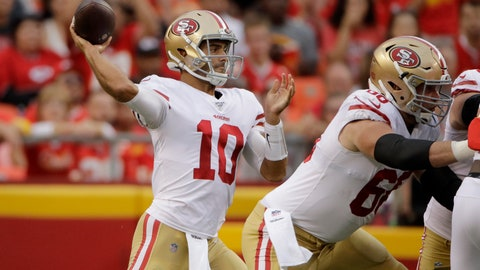 <p>               San Francisco 49ers quarterback Jimmy Garoppolo (10) throws a pass behind offensive guard Mike Person (68) during the first half of an NFL preseason football game against the Kansas City Chiefs in Kansas City, Mo., Saturday, Aug. 24, 2019. (AP Photo/Charlie Riedel)             </p>